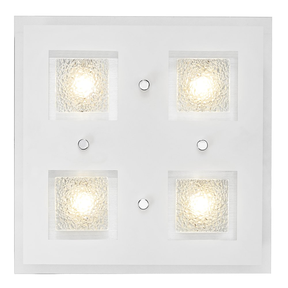 Modern Chrome Square Led Bathroom Light With Clear Frosted