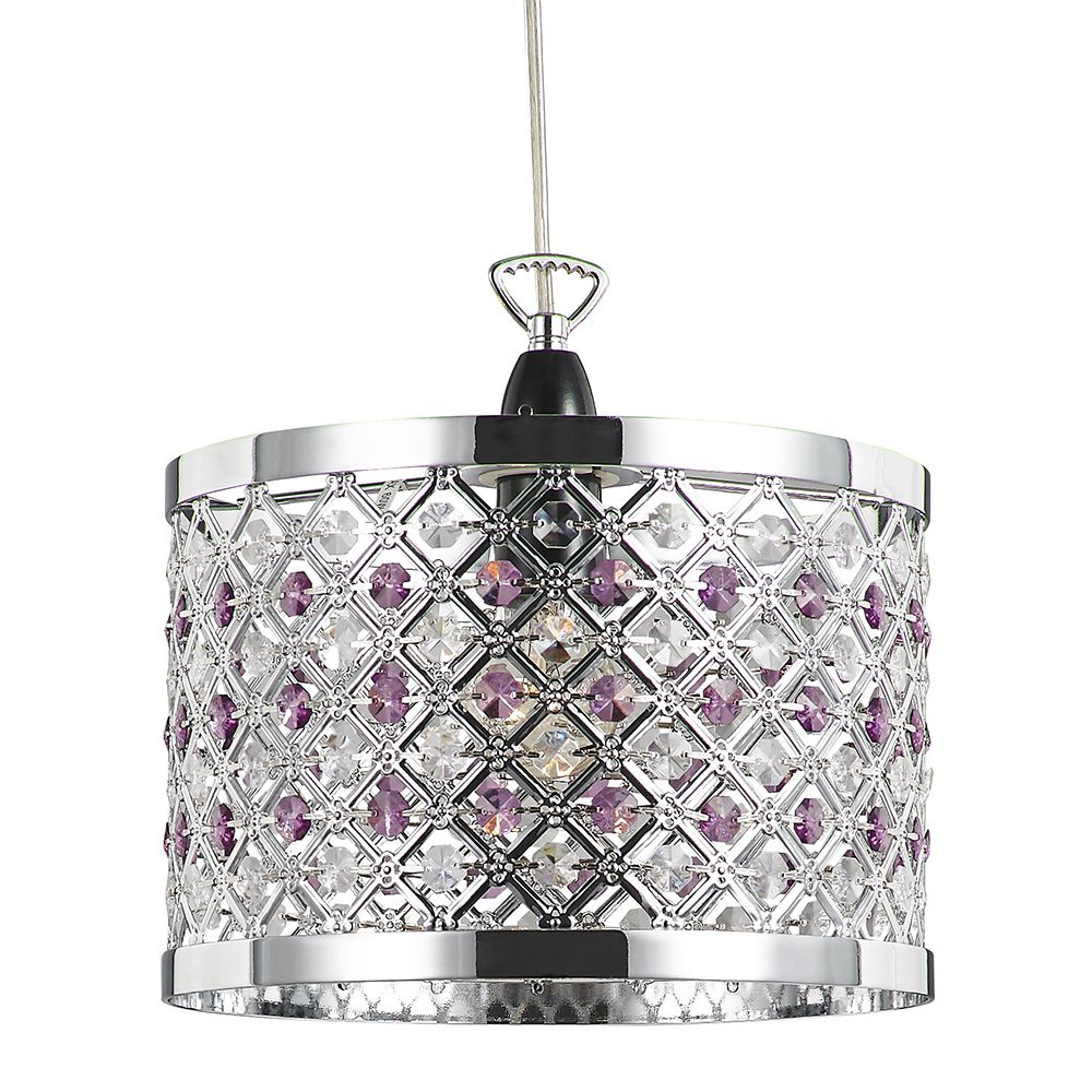 Sparkly Ceiling Pendant Shade With Clear And Purple Beads