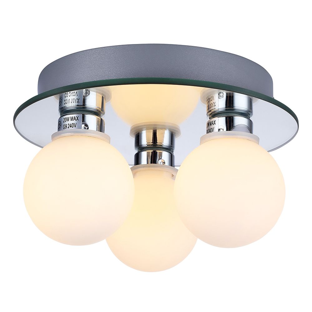 Halogen Ceiling Lights For Bathrooms: Compact 3 Lamp IP44 Low Energy Halogen Bathroom Ceiling