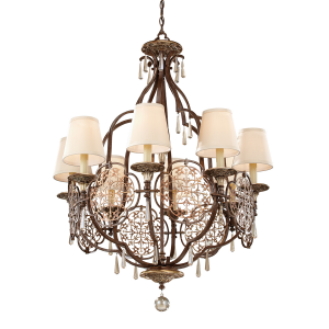 British Bronze/Oxidized Bronze 8lt Chandelier - 8 x 60W E27