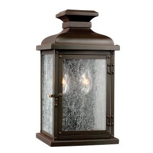 Dark Aged Copper Small Wall Lantern - 2 x 60W E14