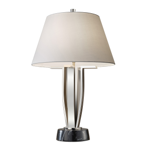 Polished Nickel 1lt Table Lamp - 1 x 60W E27
