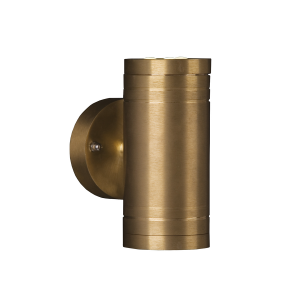 Solid Natural Brass Up & Down Outdoor Wall Light 2 - 6 x 1W LED