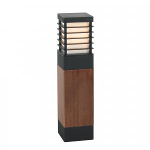 Black Large Wooden Bollard E27 - 1 x 60W E27