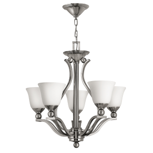 Brushed Nickel 5lt Chandelier - 5 x 60W E27