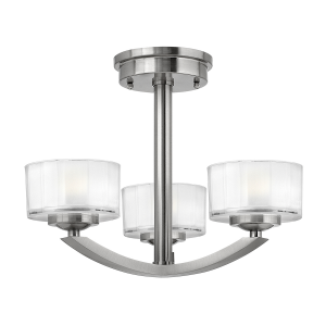 Brushed Nickel Merdian 3lt Semi-Flush - 3 x 60W