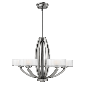 Brushed Nickel Merdian 5lt Chandelier - 5 x 60W