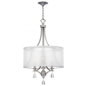 Brushed Nickel 3lt Pendant Chandelier - 3 x 60W E14