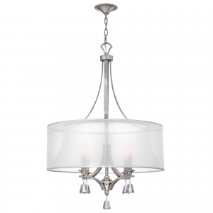 Brushed Nickel 4lt Pendant Chandelier - 4 x 60W E14