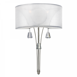 Brushed Nickel 2lt Wall Light - 2 x 60W E14