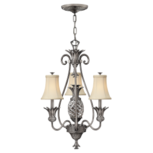 Polished Antique Nickel 3lt Chandelier - 4 x 60W E14