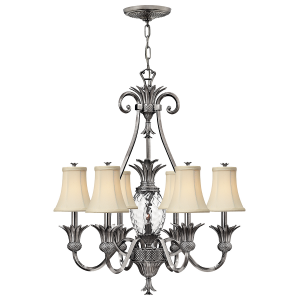 Polished Antique Nickel 7lt Chandelier - 7 x 60W E14