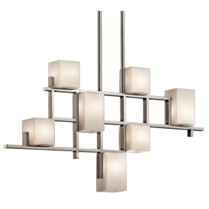 Classic Pewter 7lt Linear Chandelier - 7 x 3.5W LED G9, 320Lm, 3000k