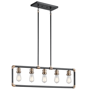 Black And Natural Brass 5lt Linear Chandelier - 5 x 60W E27