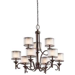 Mission Bronze 9lt Chandelier - 9 x 60W E14
