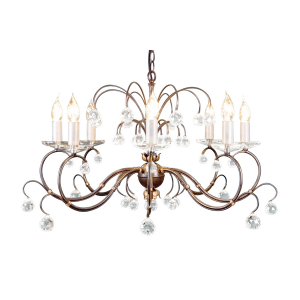 Bronze Patina 8lt Chandelier Bronze - 8 x 60W E14