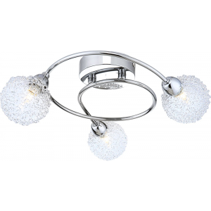 Contemporary 3-Arm Chrome Ceiling Light with Unique Wire Mesh Shades