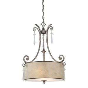 Mottled Silver Pendant Light - 2 x 60W E27