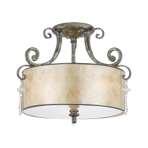 Mottled Silver Semi-Flush Light - 3 x 60W E27
