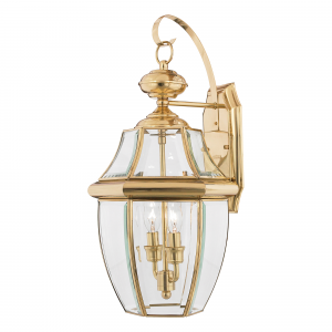 Polished Brass Large Wall Lantern - 2 x 60W E14
