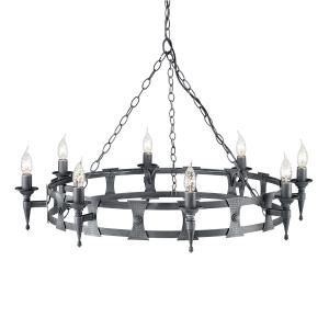 Black/Silver 8lt Chandelier - 8 x 60W  E14