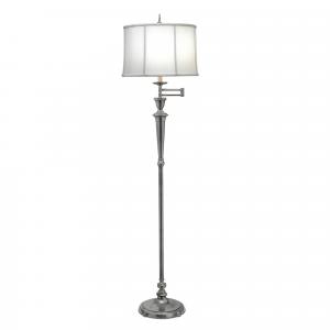 Antique Nickel Swing Arm Floor Lamp - 1 x 60W E27
