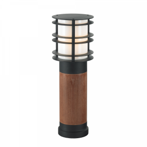 Black Medium Wooden Bollard E27 - 1 x 60W E27
