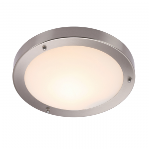 Satin Nickel Effect Plate & Frosted Glass 300mm Flush IP44 60W