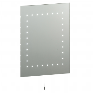 Mirrored Glass & Matt Silver Effect Paint Mirror IP44 2.5W