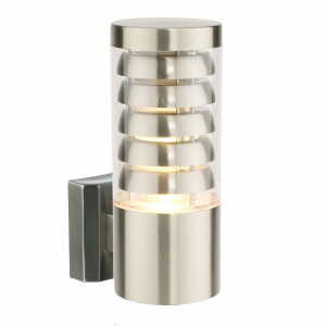 Brushed Stainless Steel & Clear Pc 1lt Wall IP44 9.2W