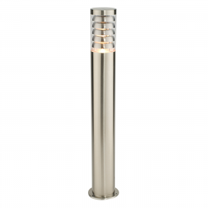 Brushed Stainless Steel & Clear Pc Bollard IP44 9.2W