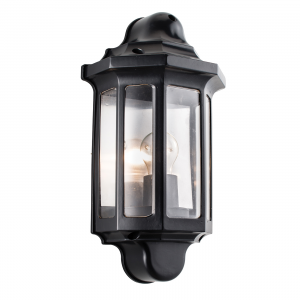 Satin Black Paint & Clear Pc Half Lantern IP44 60W