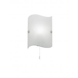 Matt Patterned White Glass & Chrome Effect Plate 1lt Wall 60W