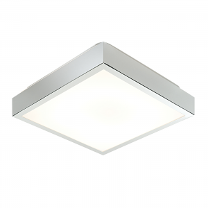 Chrome Effect Plate & Matt White Acrylic 290mm Square Flush HF IP44 28W