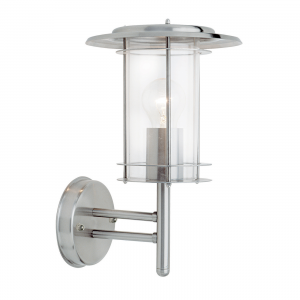 Polished Stainless Steel & Clear Pc 1lt Wall IP44 60W