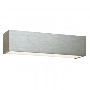 Brushed Silver Anodised & Frosted Glass 1lt Wall 8W
