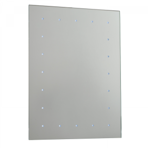 Mirrored Glass & Gloss White Battery Operated Mirror IP44 0.07W