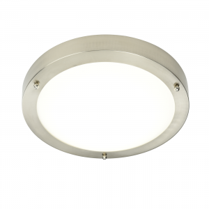 Satin Nickel Effect Plate & Frosted Glass 300mm Flush IP44 9W