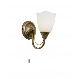 Antique Brass Effect Plate & Opal Glass 1lt Wall 60W