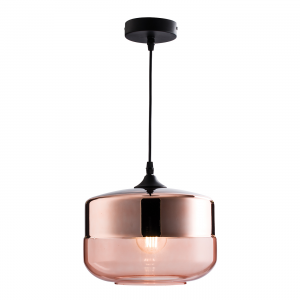 Cognac Tinted & Copper Plated Glass 1lt Pendant 60W