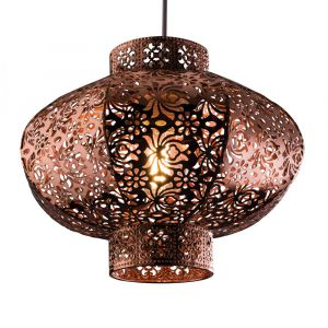 Contemporary Copper Plate Ceiling Light Shade With Intricate Cut Out Details