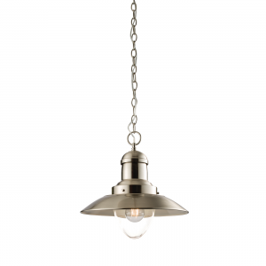 Satin Nickel Effect Plate & Clear Glass 1lt Pendant 40W