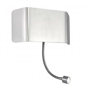 Polished Aluminium & Chrome Effect Plate 1lt Wall & Flexi 7.5W & 1W