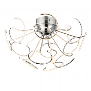 Chrome Effect Plate & Frosted Acrylic 12lt Semi Flush 3.5W