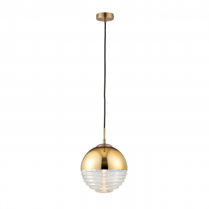 Gold Effect & Clear Ribbed Glass 1lt Pendant 40W