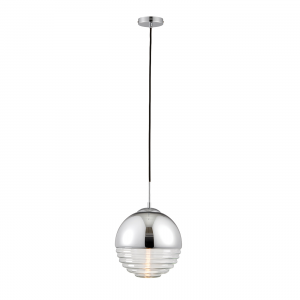 Chromed & Clear Ribbed Glass 1lt Pendant 40W