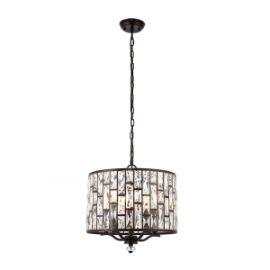 Dark Bronze Effect Plate & Clear Crystal 5lt Pendant 40W