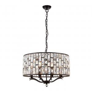 Dark Bronze Effect Plate & Clear Crystal 8lt Pendant 40W