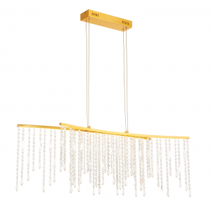 Satin Gold Effect Plate & Clear Crystal Detail 1030mm Bar Pendant 12W