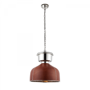 Golden Brown Leather & Bright Nickel Plate 1lt Pendant 40W